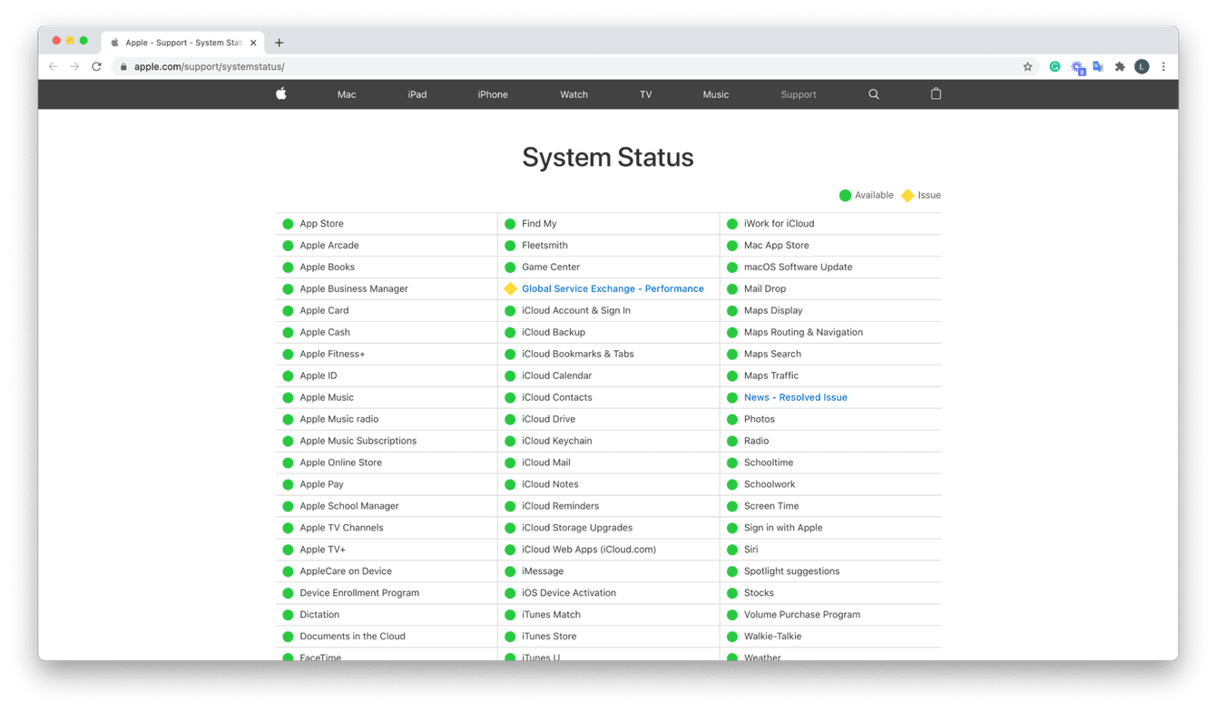 How to check Apple system status