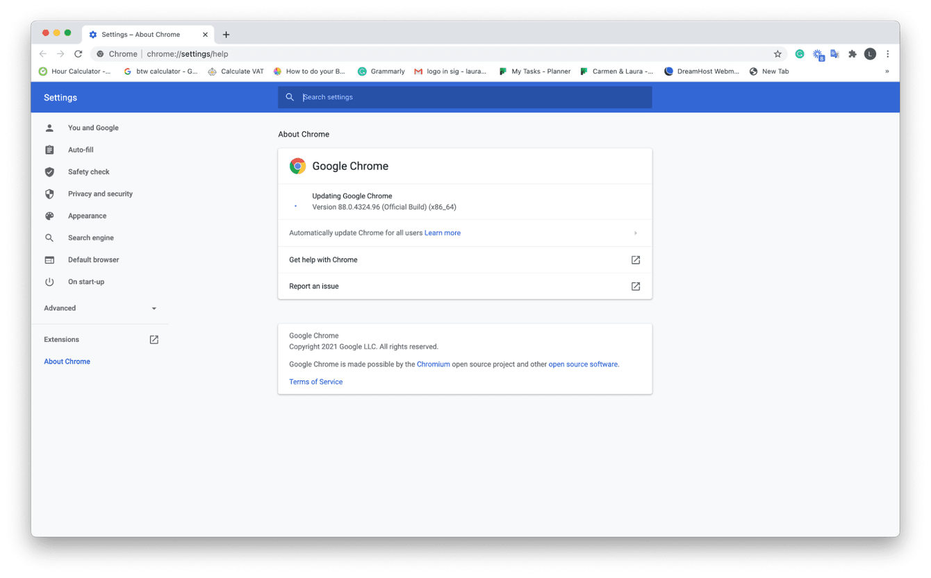 How to check for updates in Chrome