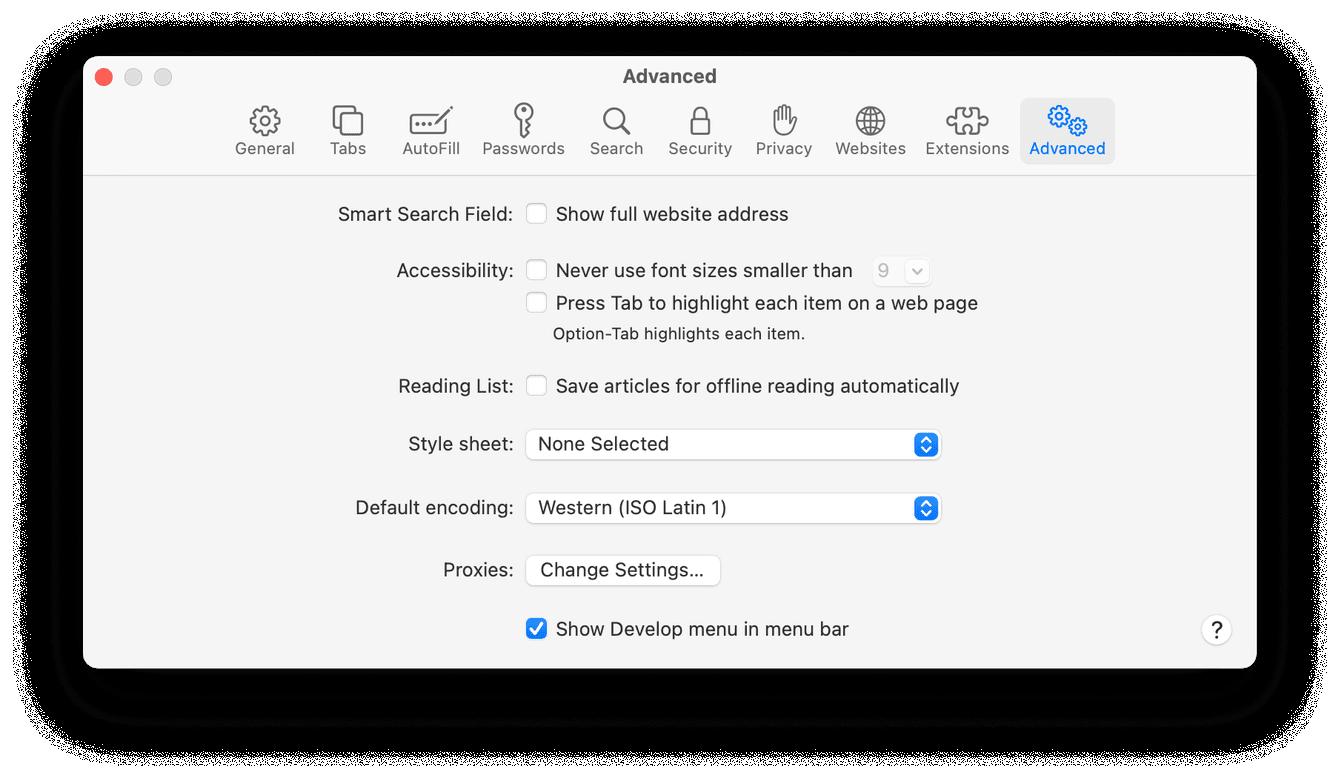 Advanced settings in Safari