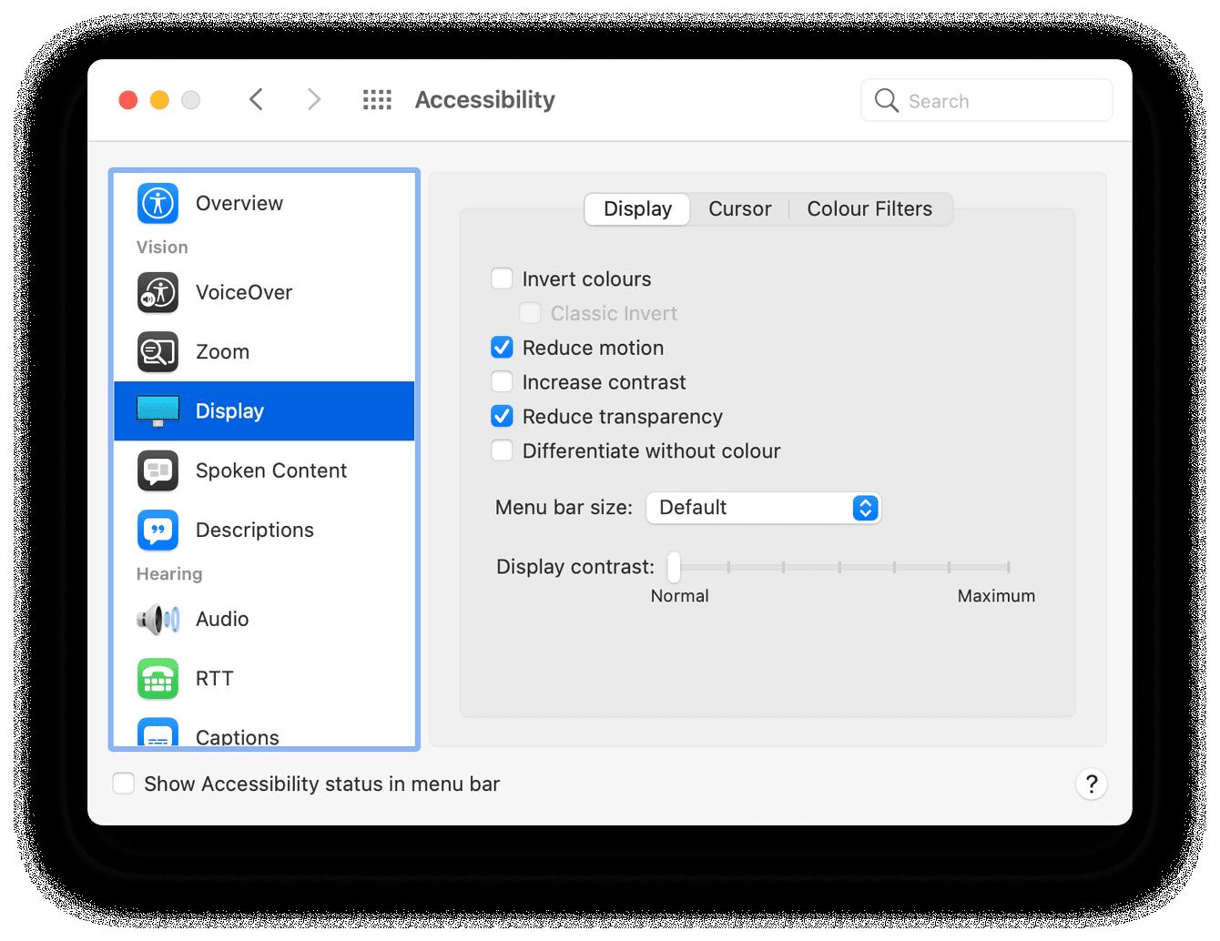Mac accessibility settings