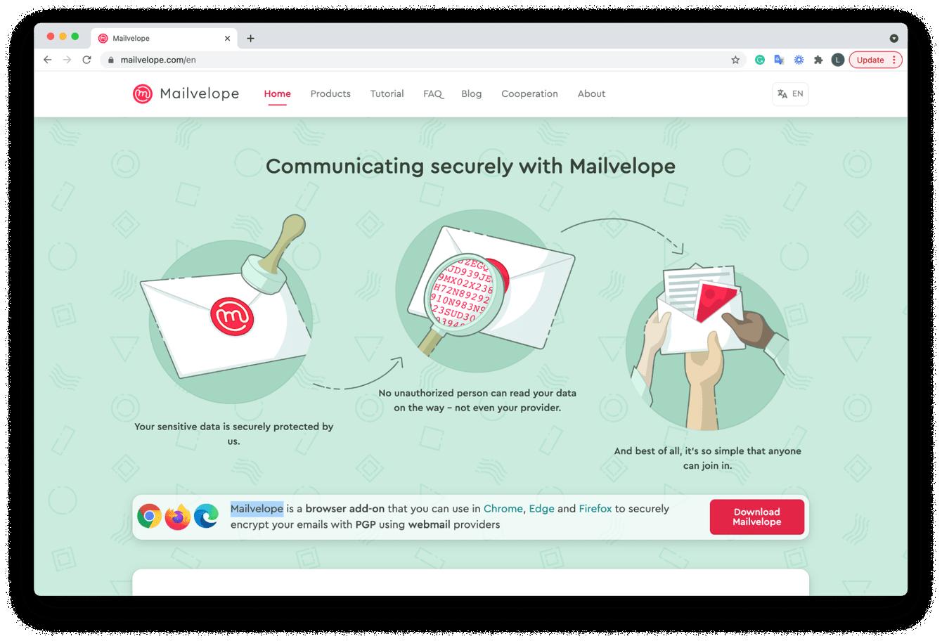 Mailvelope website screenshot