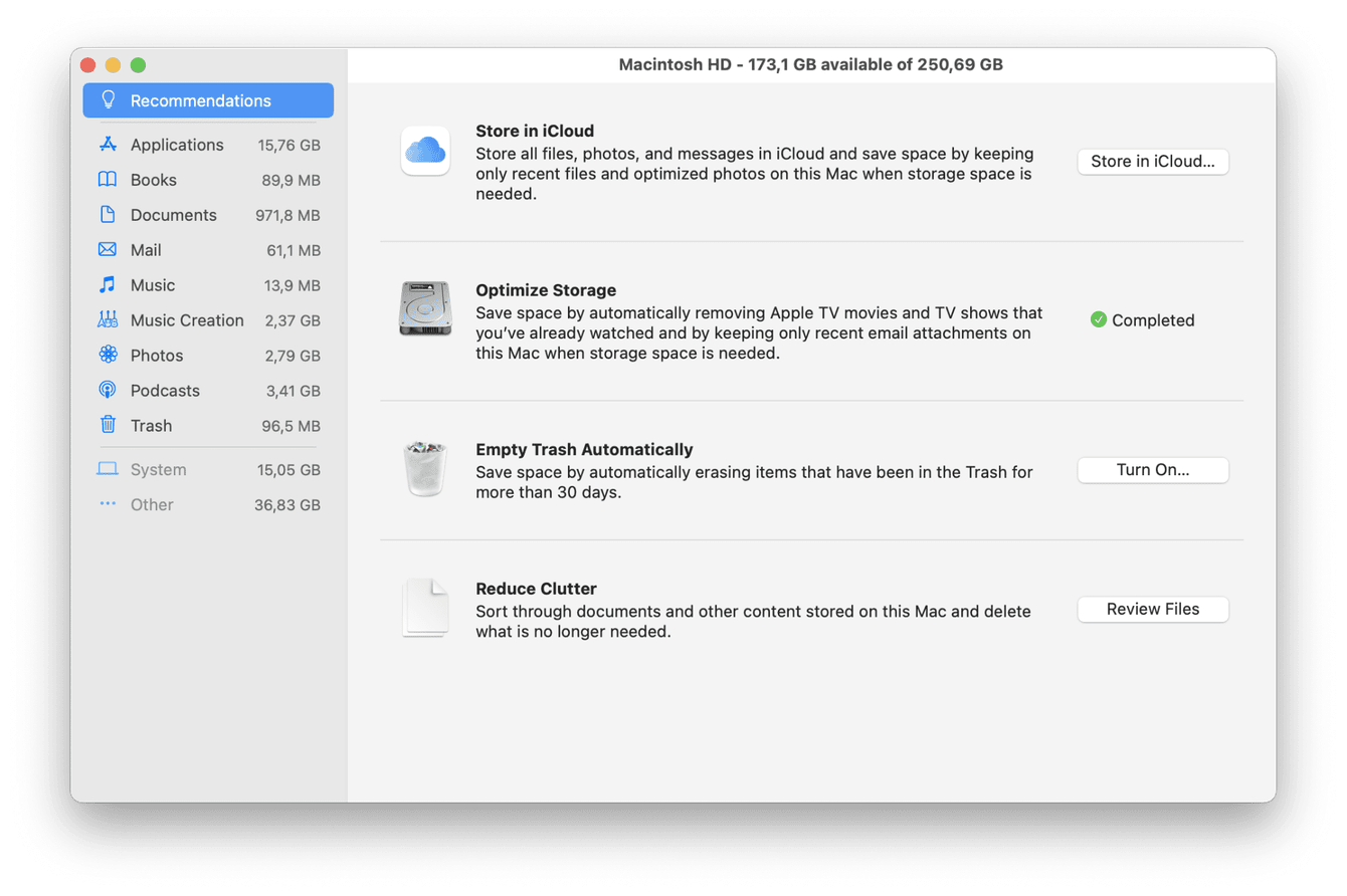 Built-in Mac storage optimization tool