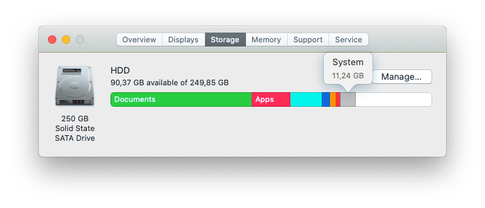 How to check System storage on Mac