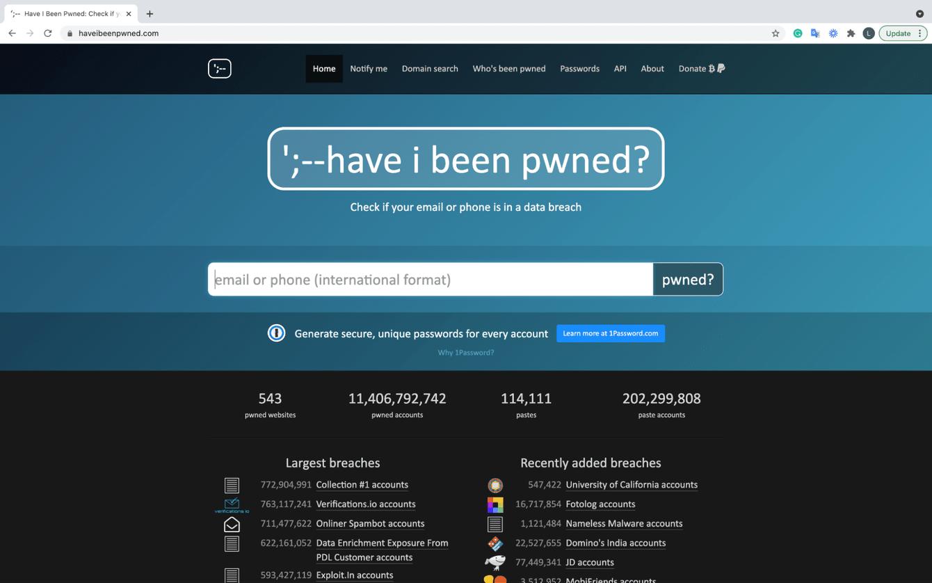 Have I been pwned website