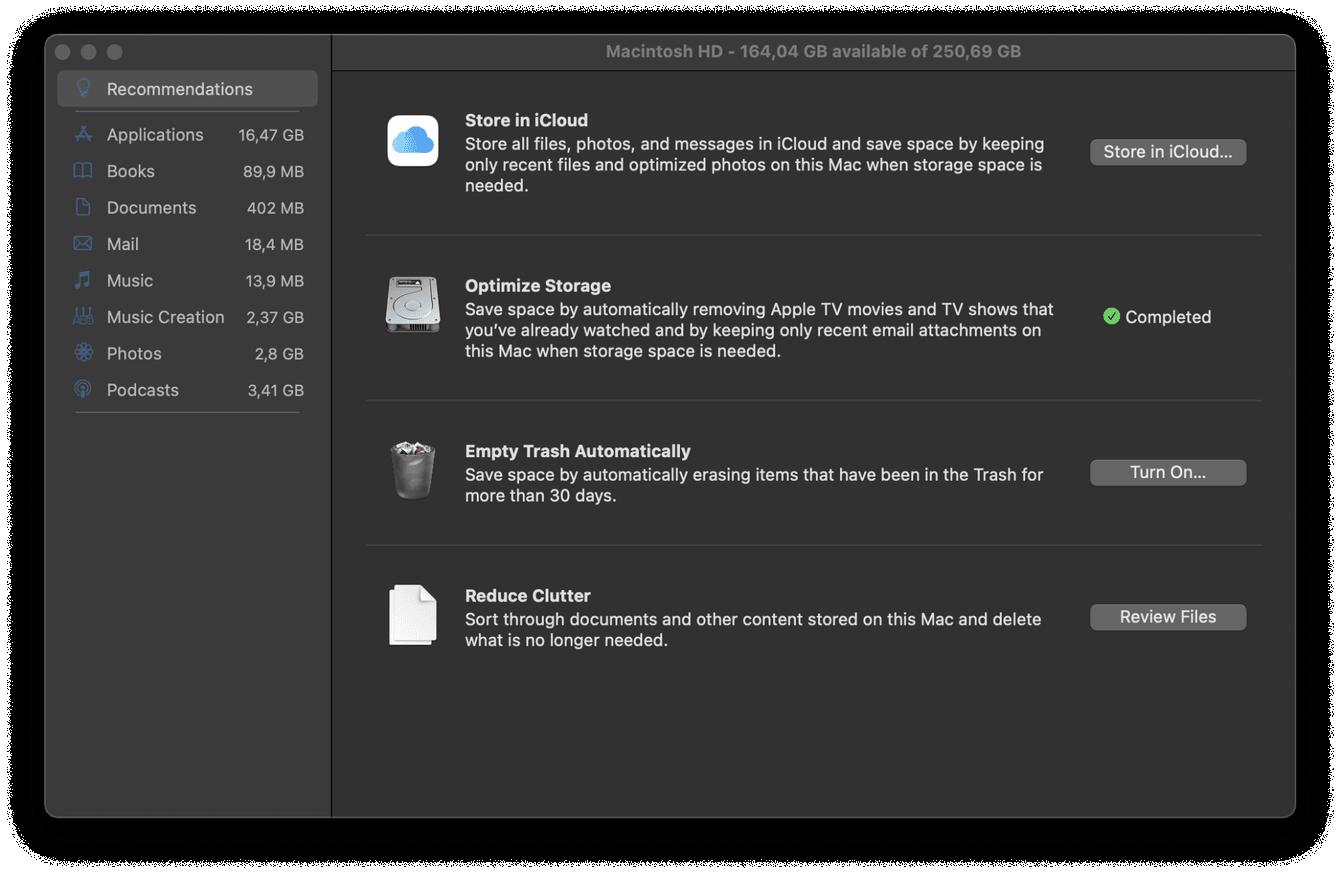 Mac storage optimization tool