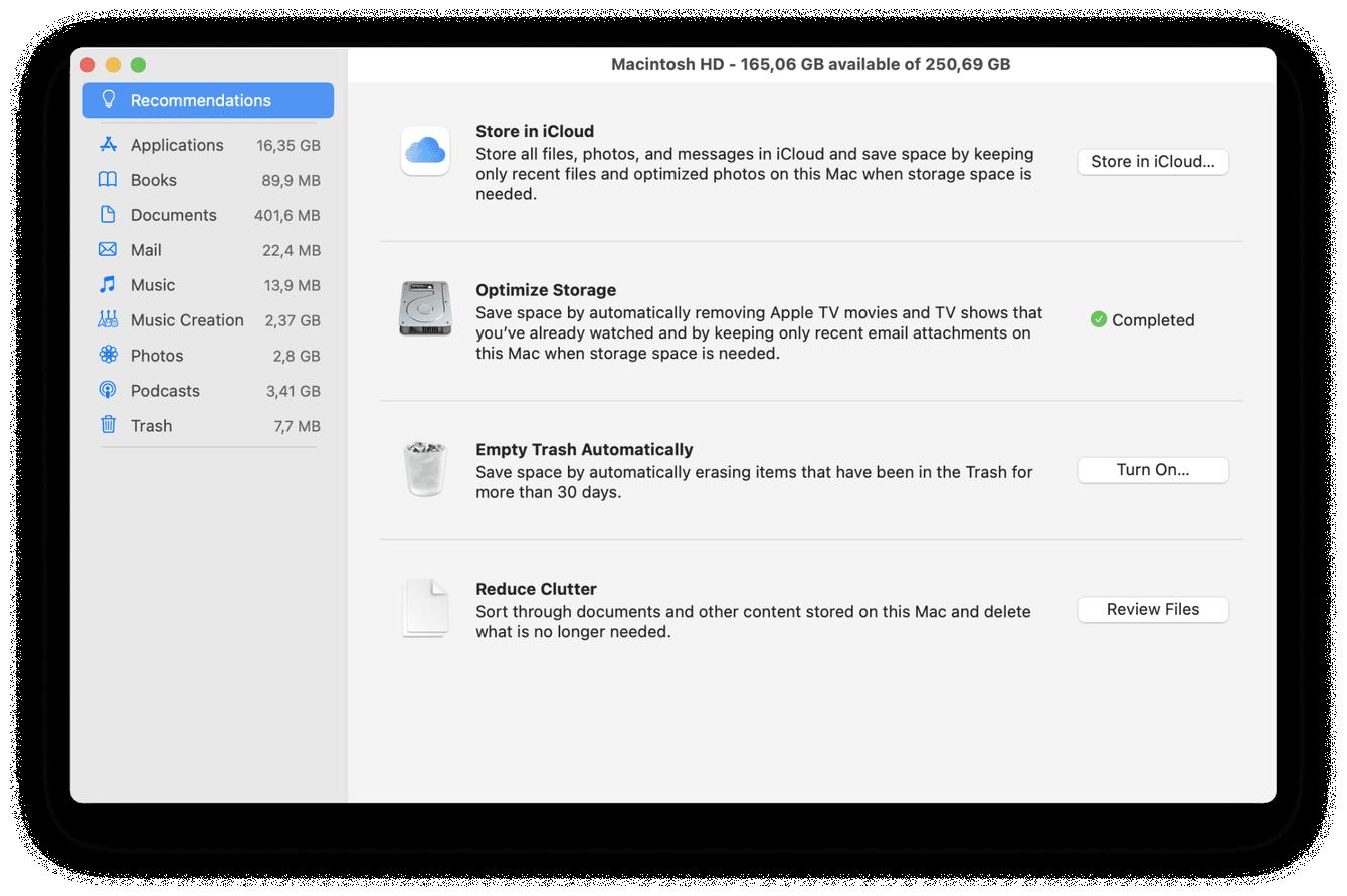 Apple's storage optimization tool