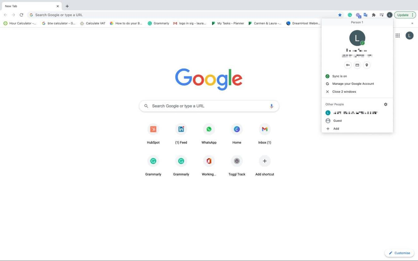 How to turn off Chrome sync