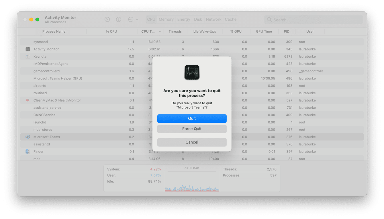 How to quit a process on Mac
