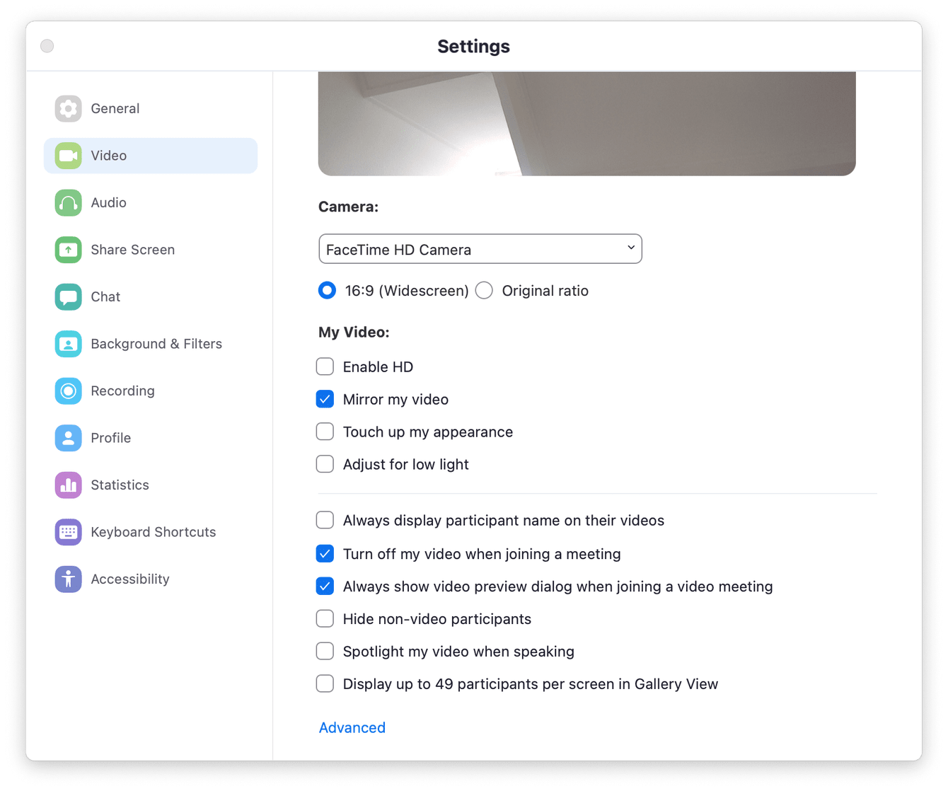 How to check app settings (in Zoom)