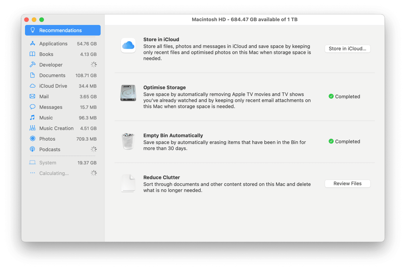 Apple Optimize storage feature