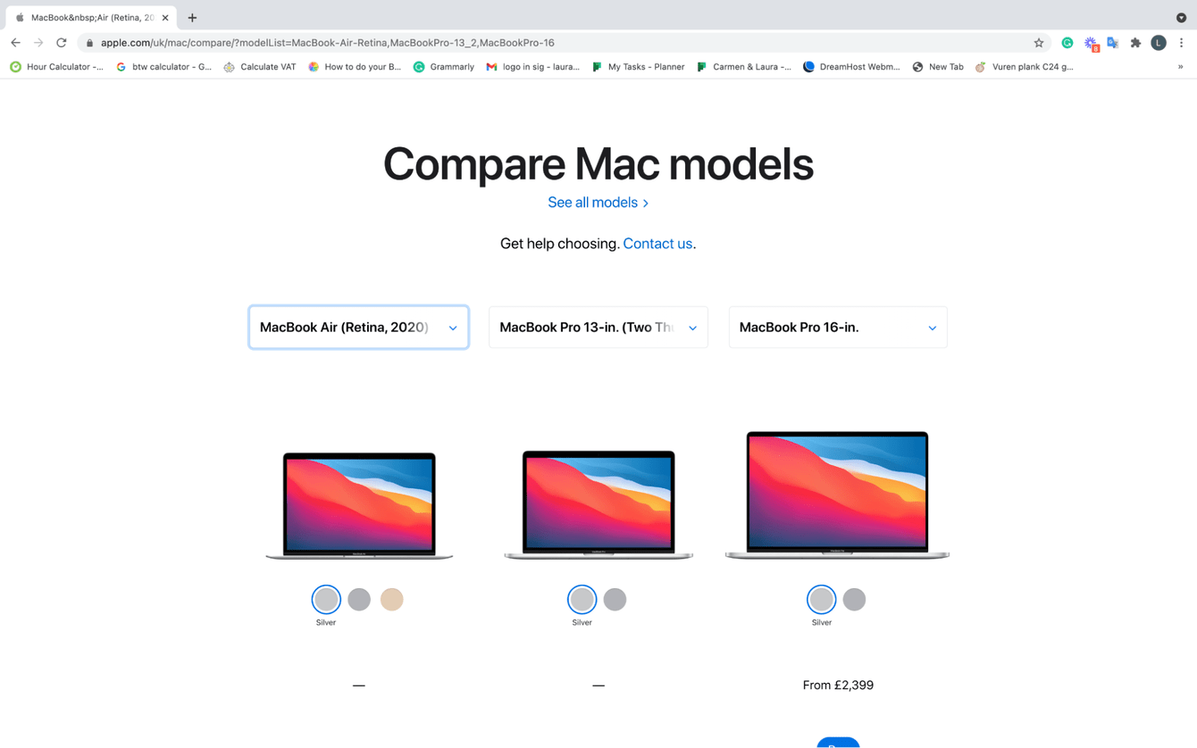 Comparing Mac models