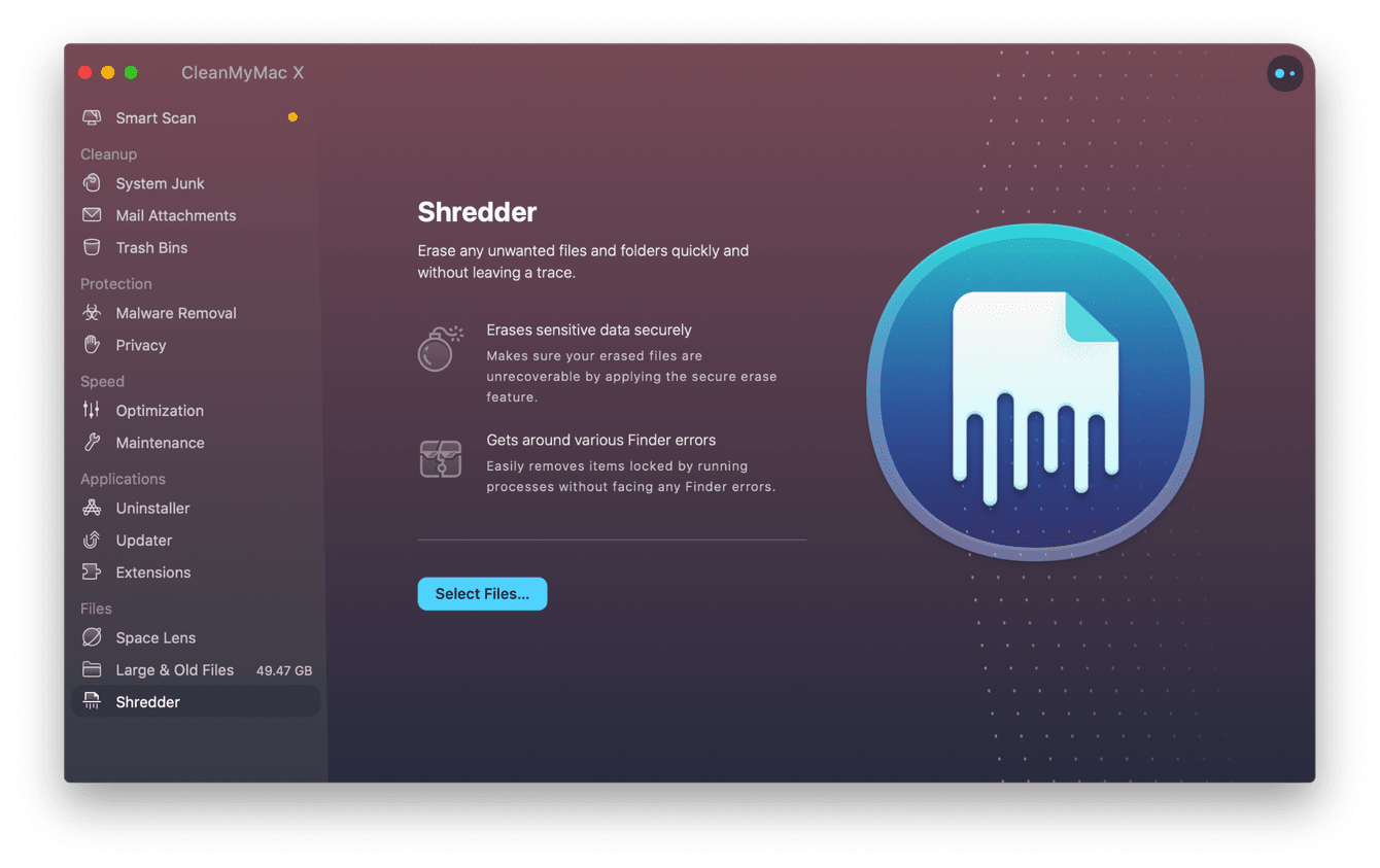 CleanMyMac X - Shredder module