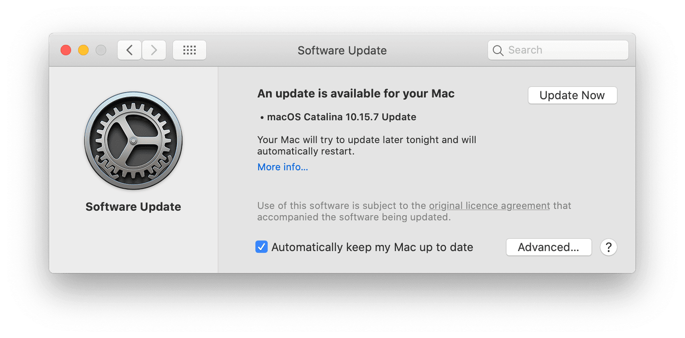 macOS update window
