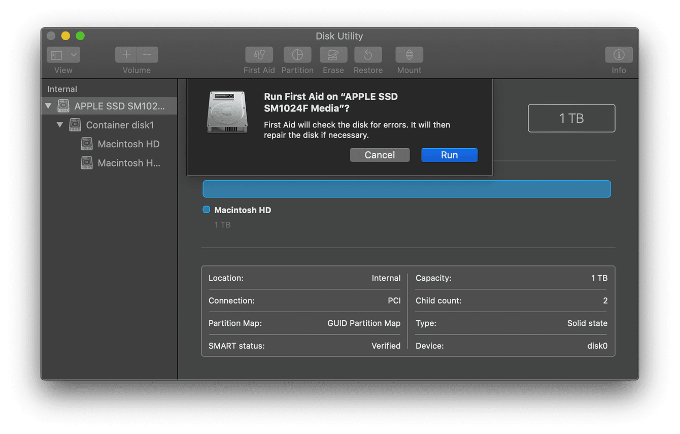 Mac disk utility window