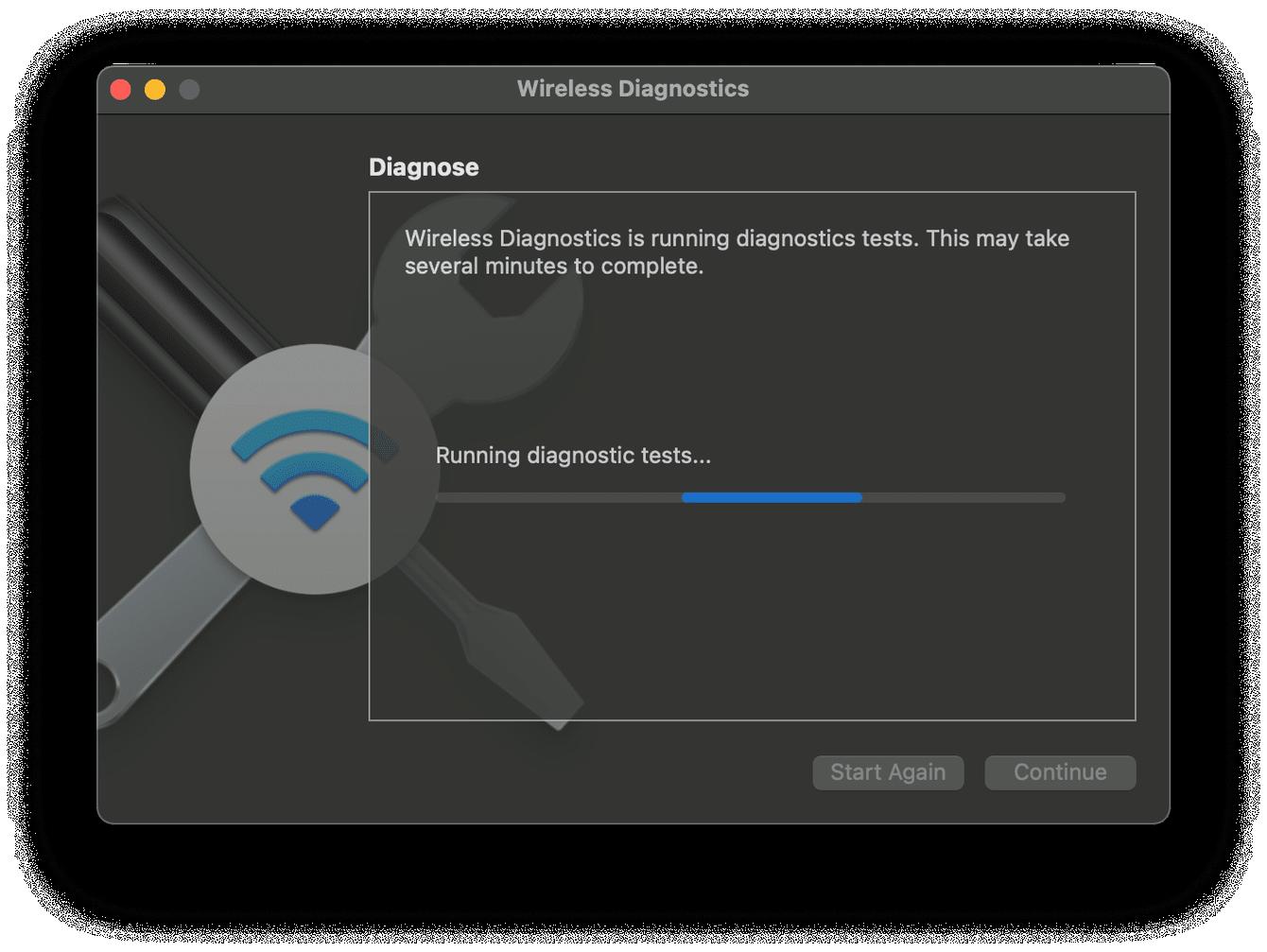How to run wireless diagnostics