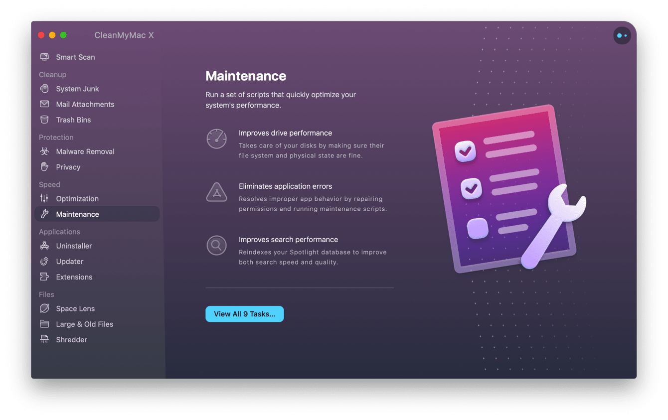 CleanMyMac X - Maintenance module