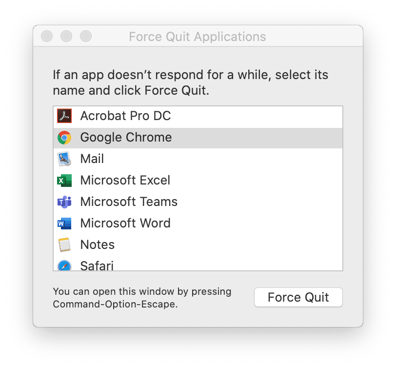 How to force quit applications