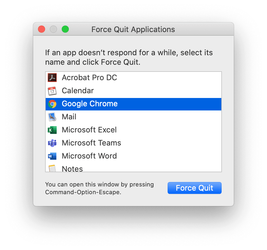 How to force quit Chrome