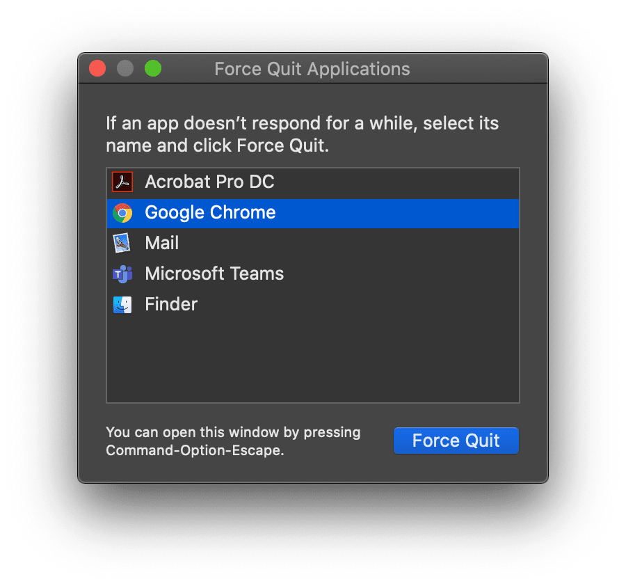 How to force quit Chrome on Mac