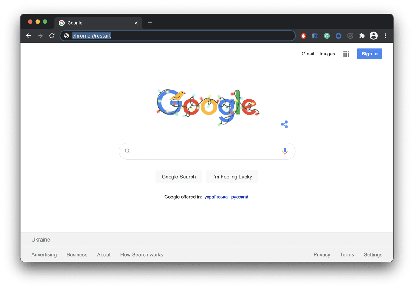 How to use chrome restart command