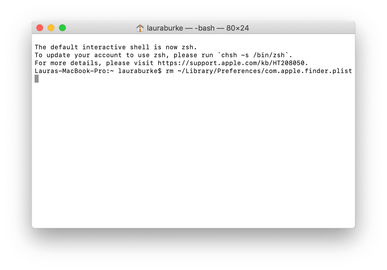 How to delete Finder preference file in Terminal