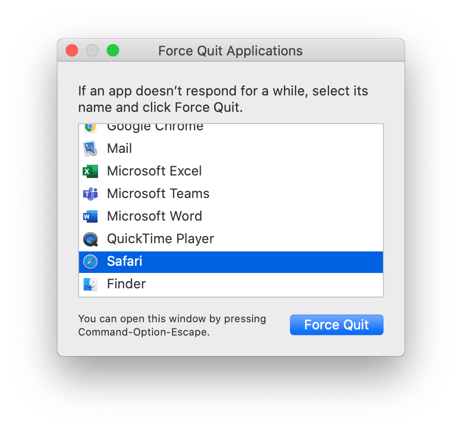 How to force quit Safari